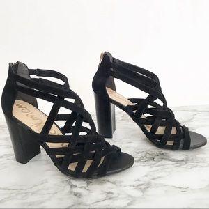Sam Edelman Yori FF Strappy  Black Suede Sandals